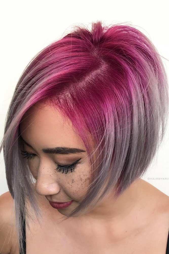 Pink To Grey Ombre Bob Hairstyle #shortgreyhair #shorthaircuts #greycolor #bobha...