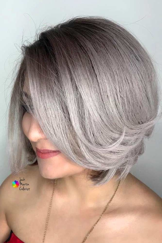 Side Parted Straight Short Bob  #shortgreyhair #shorthaircuts #greycolor #bobhai...