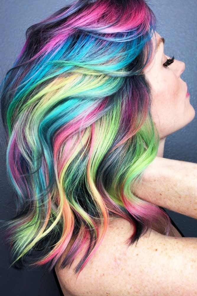 Smokey Neon Shine-Lines #unicornhair #rainbowhair ❤️ Want to pull off unicor...