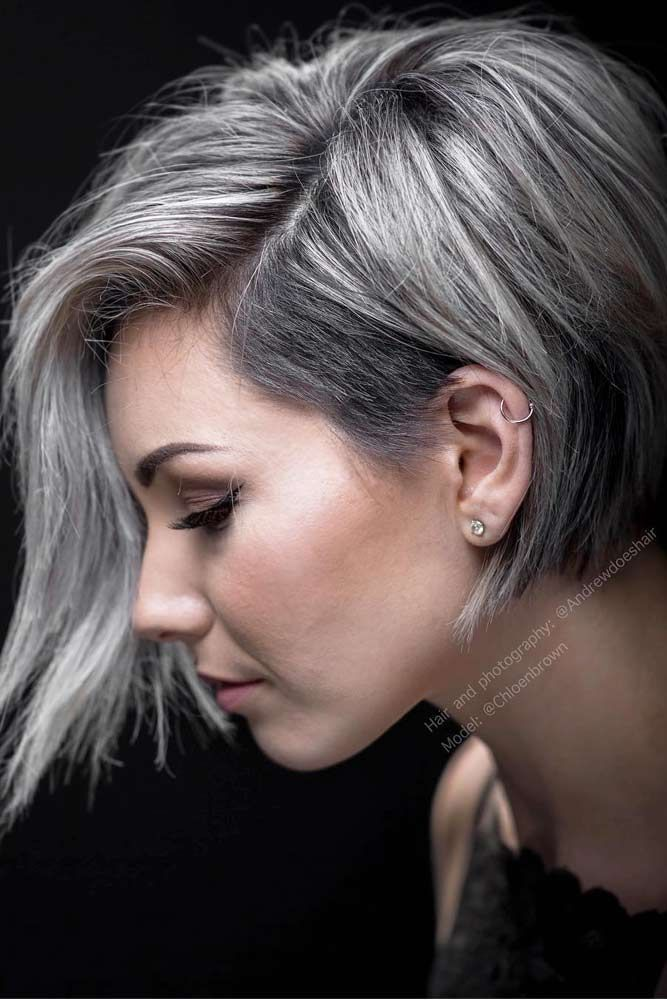 Hair Color 2017 2018 Straight Pixie Bob With Grey Highlights