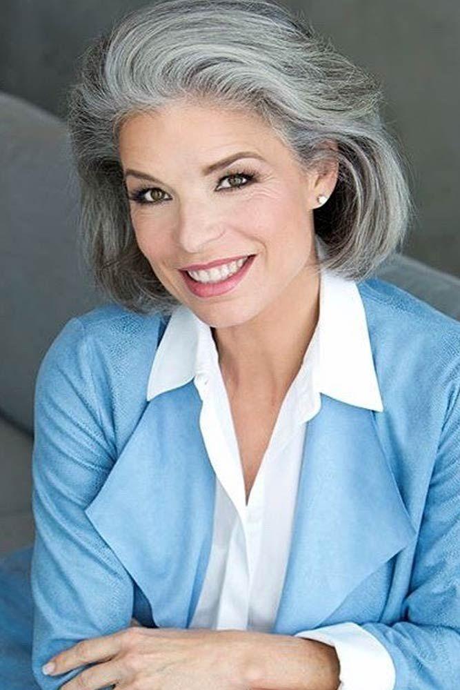 Voluminous Bob For Older Women  #shortgreyhair #shorthaircuts #greycolor #bobhai...