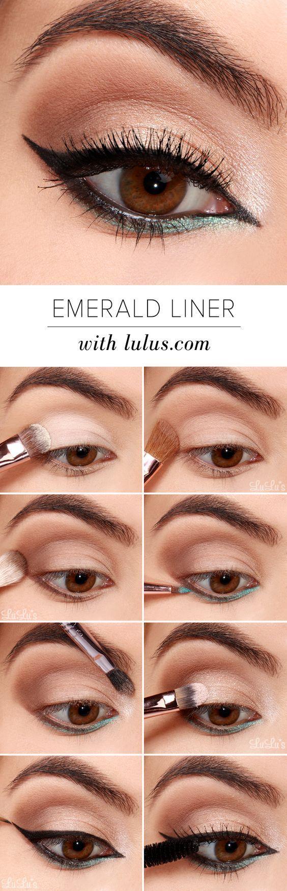 10 Easy Step-By-Step Eyeliner Tutorials For Beginners: #7. Black and Emerald Eye...