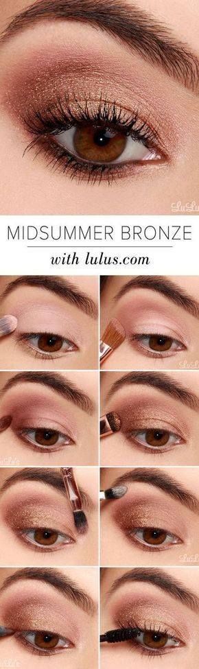 16 Easy Step-by-Step Eyeshadow Tutorials for Beginners: #7. Glittery Bronze Look...