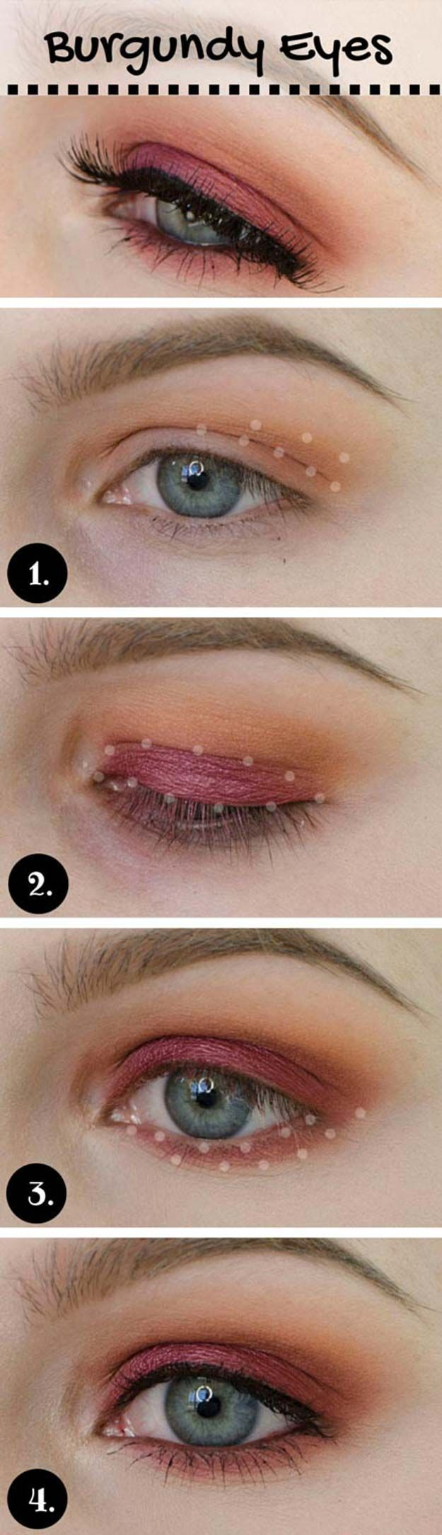 Best Eyeshadow Tutorials - Burgundy Make-up Look - Easy Step by Step How To For ...