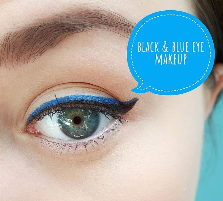 Black and blue eye makeup tutorial perfect for blue eyes! Using blue and black e...