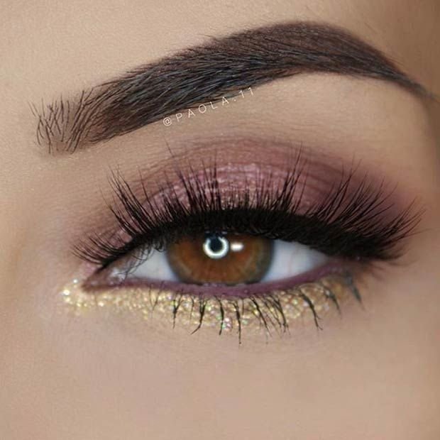 Brown And Gold Eye Makeup for Prom #skinmakeup
