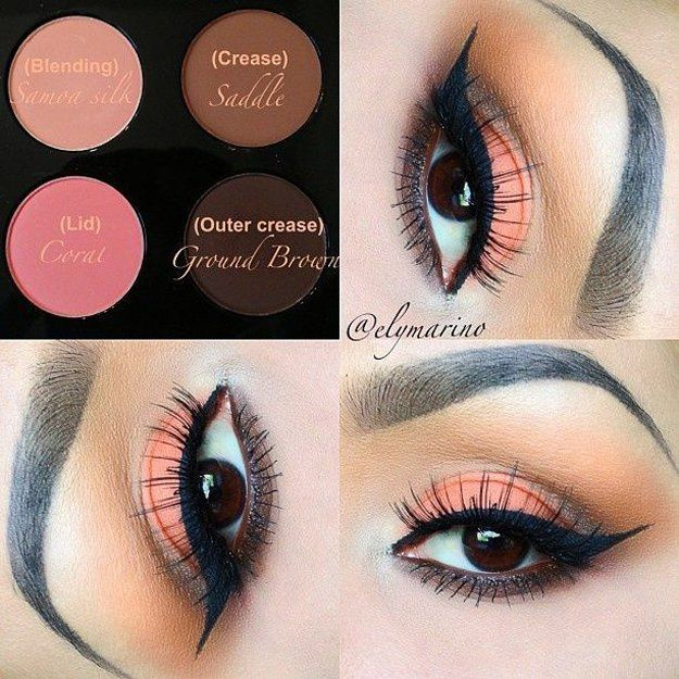 Coral Eyeshadow | Eyeshadow Tutorials for Brown Eyes -  | How To Make Eyes Look ...