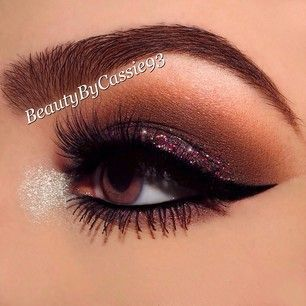 Cranberry Glitter and Brown Eye Makeup - Winged Liner - Lashes