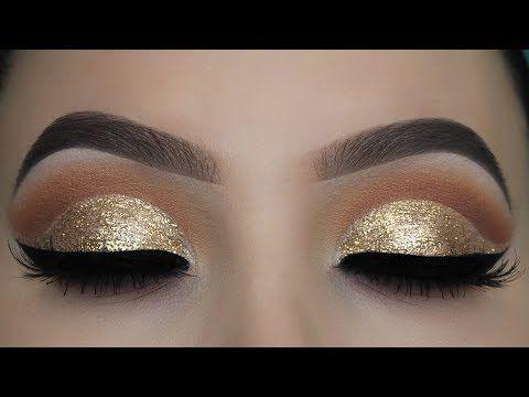 Crystal Gold Glitter Eye Makeup Tutorial - YouTube