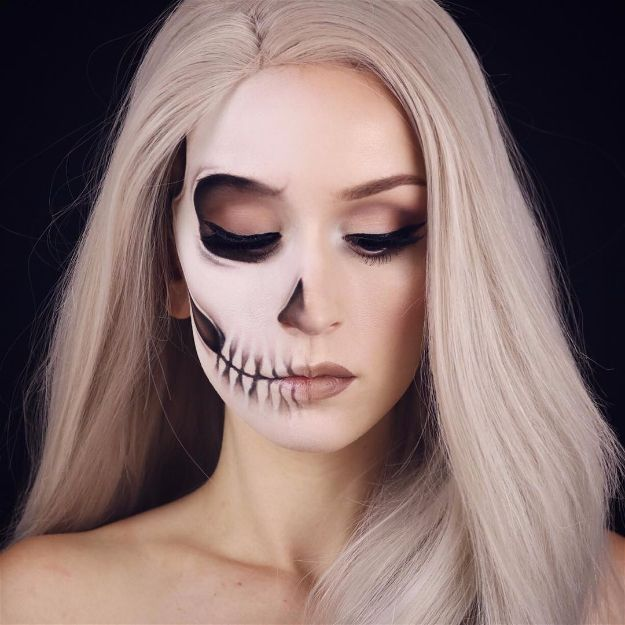 Fading Half Skull | 10 Spooky Skeleton Makeup Ideas You Should Wear This Hallowe...