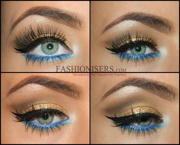 Gold Makeup Tutorial with Blue Under-Eye Liner | Fashionisers