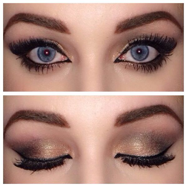 Gold and brown smokey eye. Winged, cat eye gel liner. Dramatic lashes. Makeup fo...