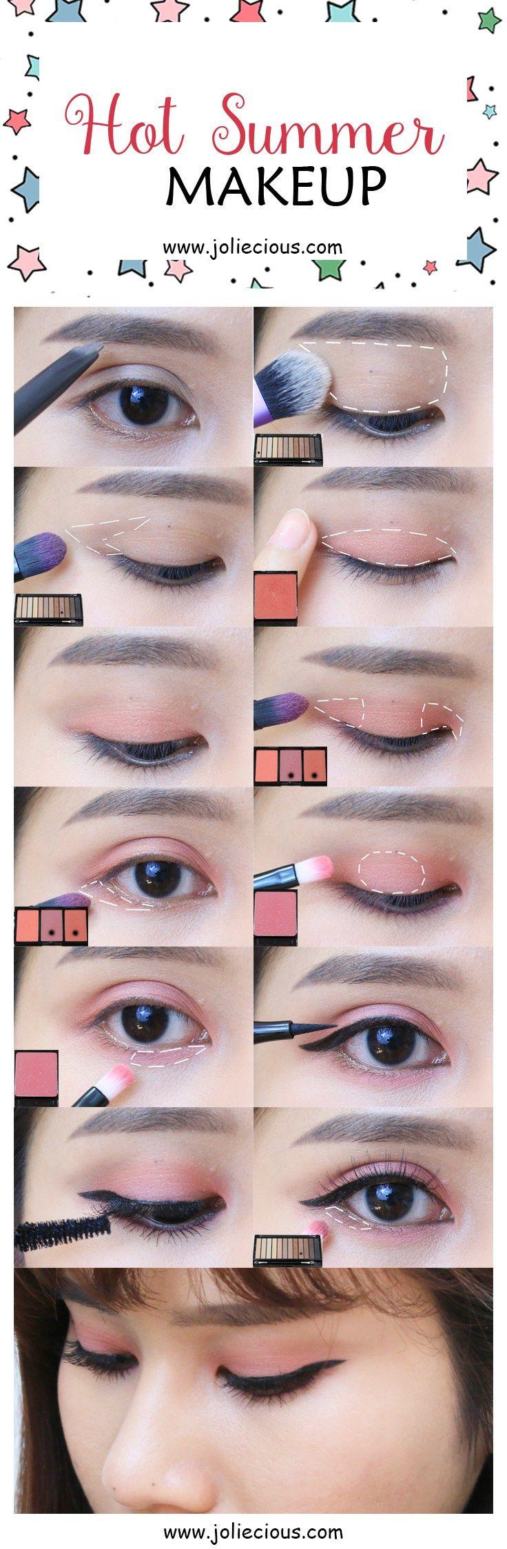 Hot Summer Makeup. Summer makeup tutorial. Makeup tutorial. Makeup guide. Beginn...