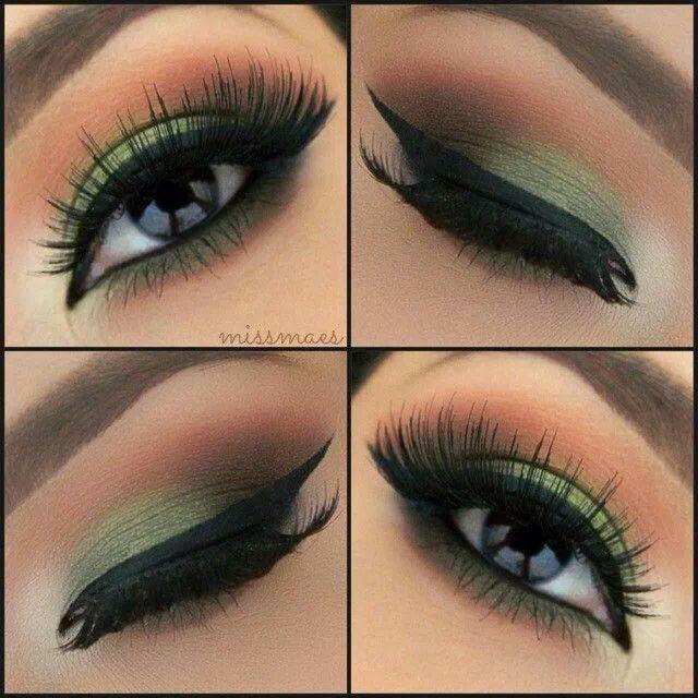 Imagini pentru green and brown eye makeup