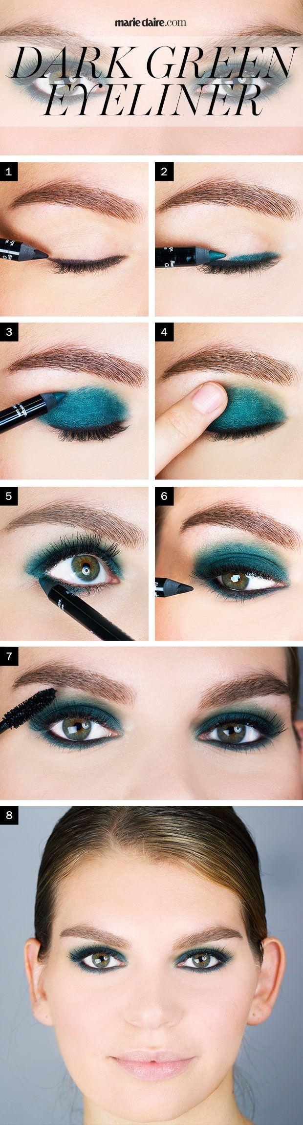 Like blue eyeliner makes blue eyes bigger, dark green eyeliner works magic for h...