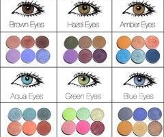 Make-up; eye shadow colours for brown eyes, hazel eyes, amber eyes, aqua eyes, g...
