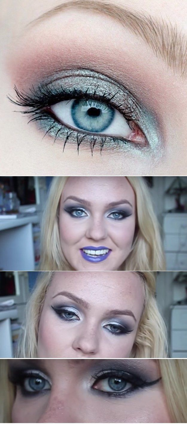 Makeup Tutorials for Blue Eyes -Icy Blue Eyes and Blue Lips Makeup Tutorial -Eas...