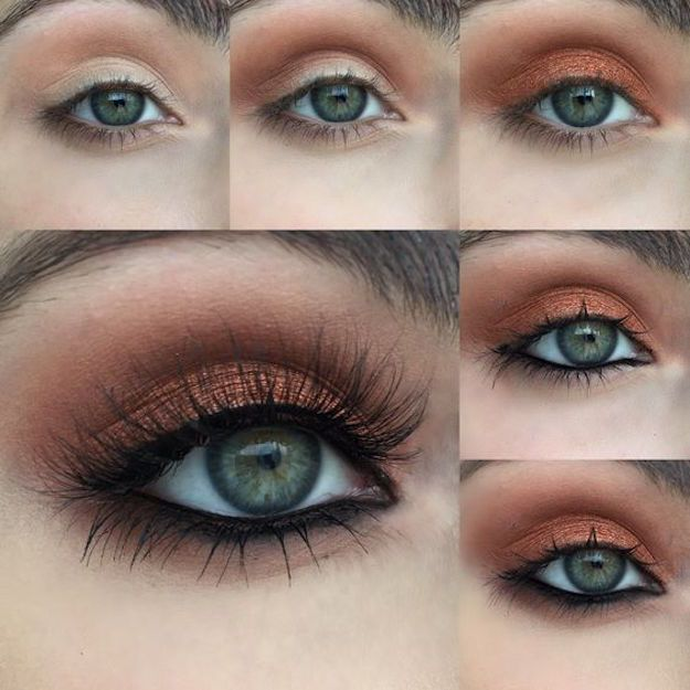 Makeup Tutorials for Green Eyes -Warm Copper Photo Tutorial -Easy Eyeshadow Vide...