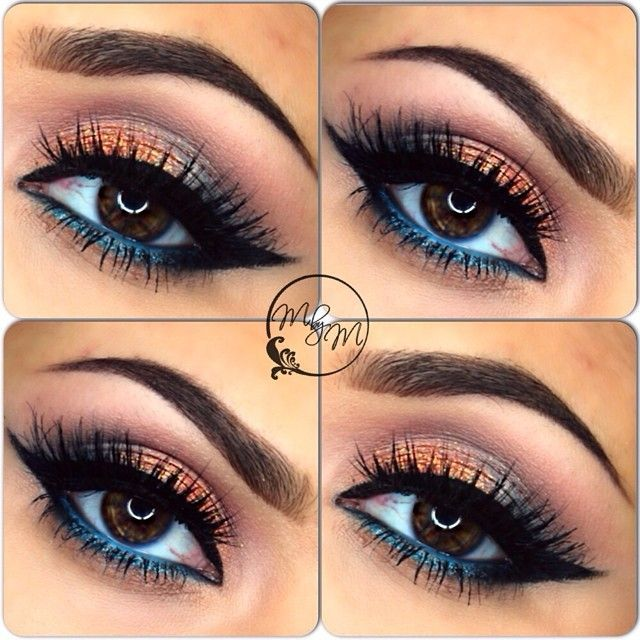 Not crazy about the eye shadow but I love the blue liner going straight into the...