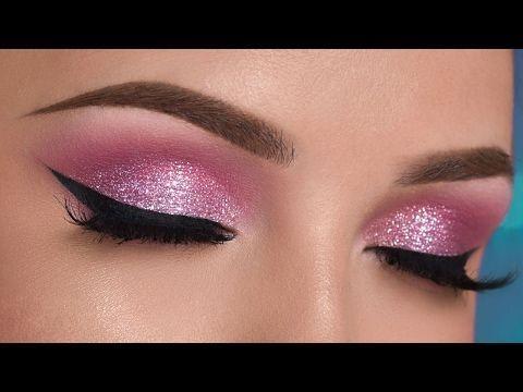 Pink Glitter Smokey Eye Makeup Tutorial - YouTube