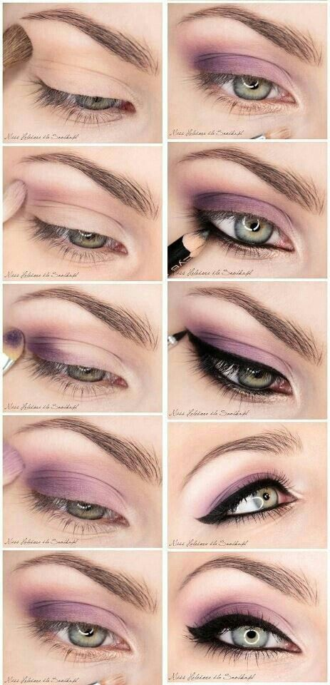 Romantic smokey eye makeup tutorial/step by step with purple eyeshadow and winge...