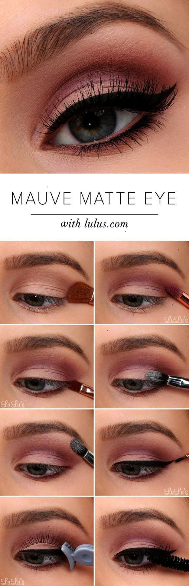 Sexy Eye Makeup Tutorials - Mauve Matte Eye Tutorial - Easy Guides on How To Do ...