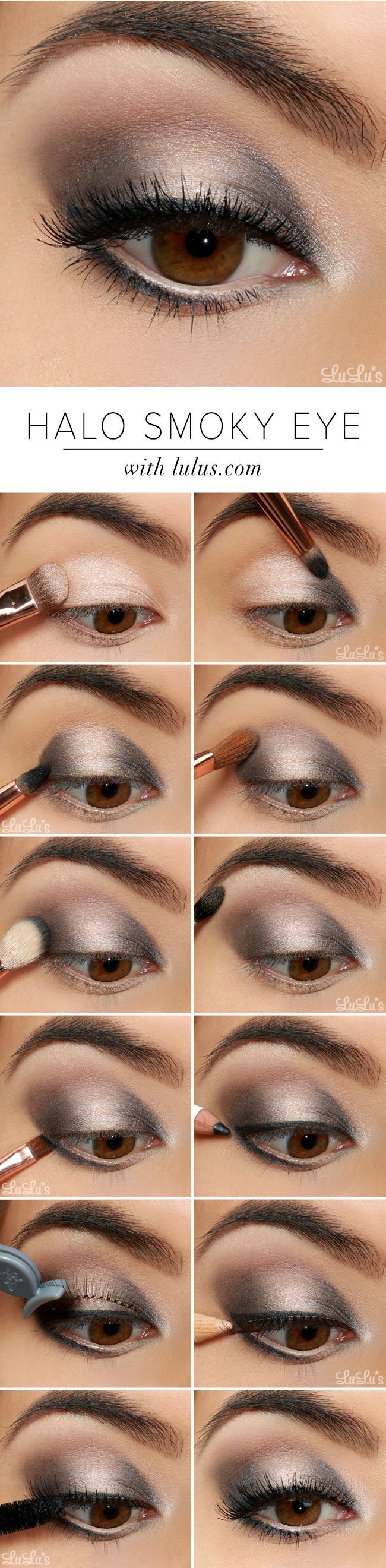 Step by Step tutorial for how to create this stunning halo smokey eye #infograph...