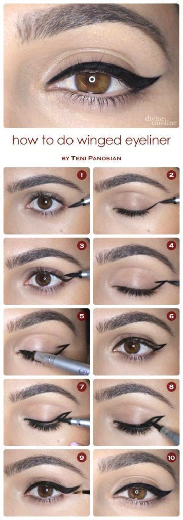 Step by step winged eyeliner tutorial. Great with your eyeshadow and your whole ...
