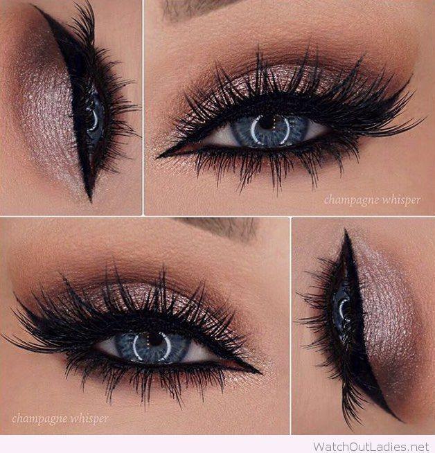 makeup braids nails fashion Rose glitter eye makeup for blue eyes