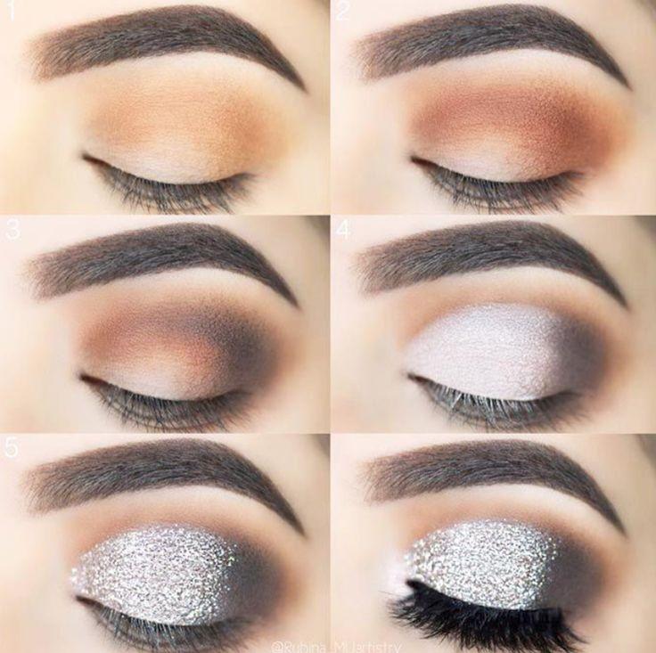 maquillage smoky eyes marron argent yeux marron #makeup