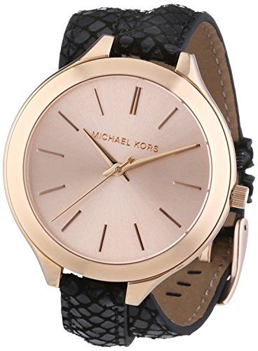 Michael Kors MK2322 Ladies Rose Gold and Black Slim Runway Watch * You can get m...