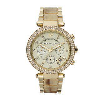 Michael Kors MK5632 Womens Parker Analog Display Chronograph Quartz Watch Gold S...