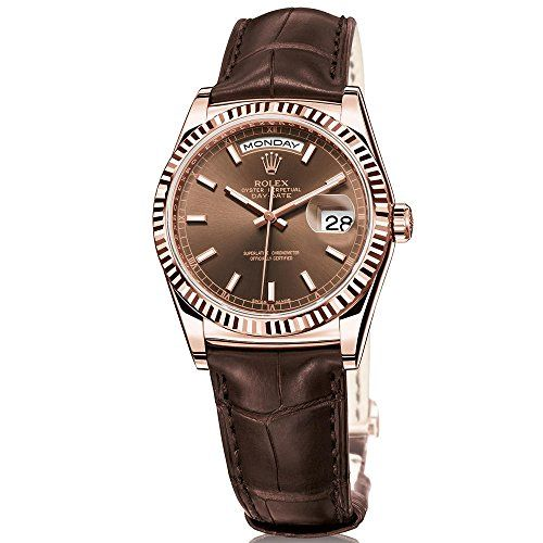 Rolex Day-Date President 36 Everose Gold Watch Brown Leather Strap 118135 ** Cli...