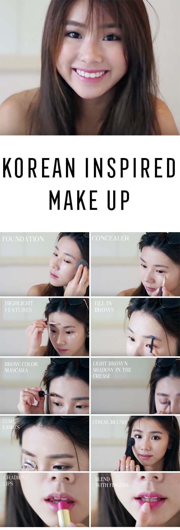 Best Korean Makeup Tutorials - Korean Inspired Make Up Mongabong (Current Make U...