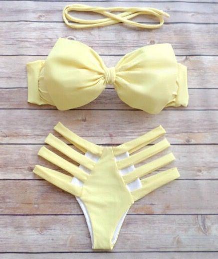 Yellow bow bind bikini