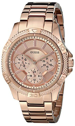GUESS Womens U0235L3 Dynamic Feminine Rose GoldTone MidSize Sport Watch * Visit ...