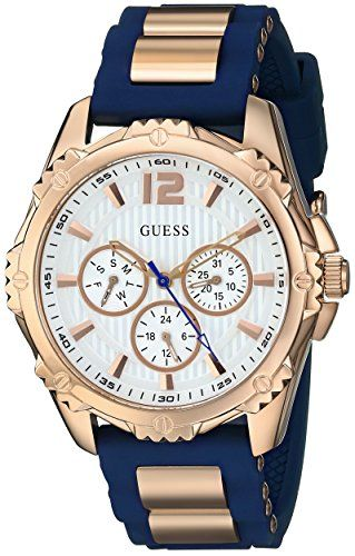 GUESS Womens U0325L8 Sporty MultiFunction Comfortable Navy Blue Silicone Strap W...