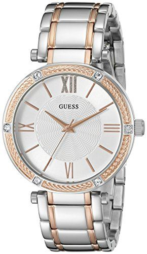 GUESS Womens U0636L1 Dressy Rose GoldTone Watch with Textured Silver Dial  and S...