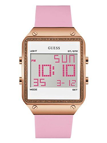 GUESS Womens U0700L2 Digital Pink Silicone Watch with Alarm Dual Time Zone and C...