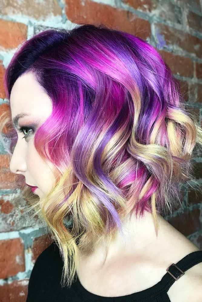 Black Roots With Purple And Yellow Ends #purplehair #brunette ❤️ Purple and ...