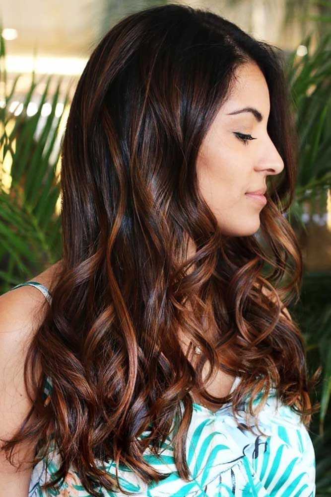 Black With Chestnut Brown Highlights #chestnuthair #brownhair #highlights ❤️...