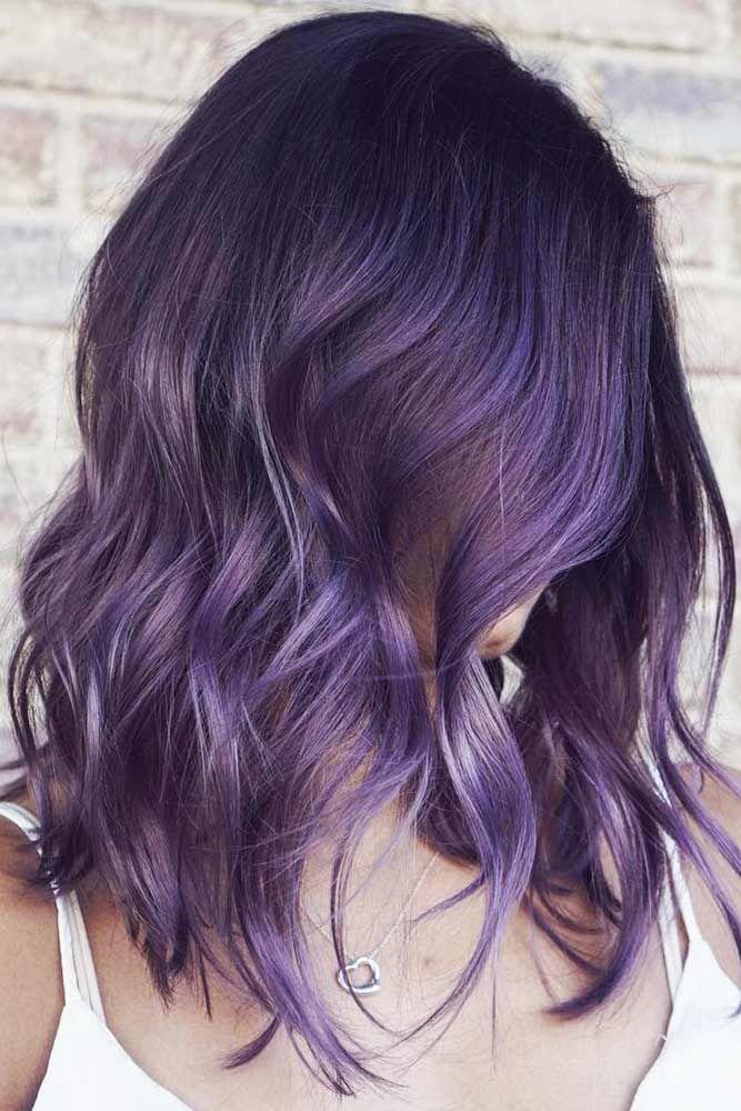 Black With Smokey Purple #brunette #purplehair ❤️ Purple and black hair is n...
