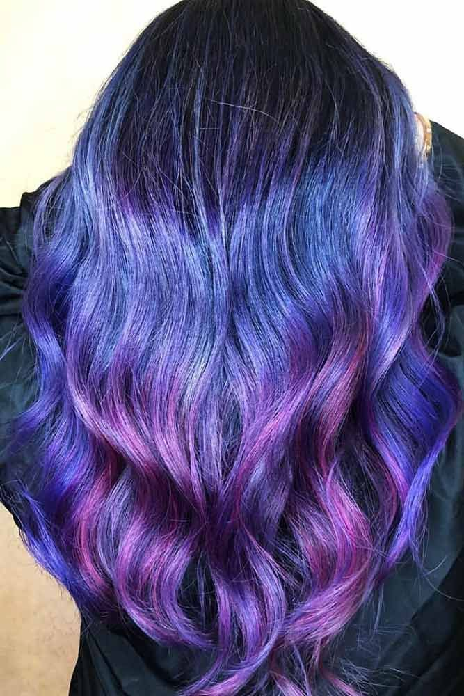 Blue With Violet Shades Balayage #bluehair #balayage #violethair ❤️ Read on ...