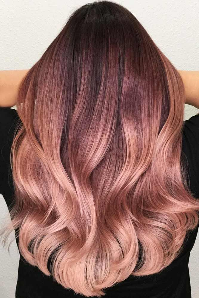 Chocolate Lilac To Rose Gold Ombre #rosegoldhair #ombre ❤️ Chocolate lilac h...