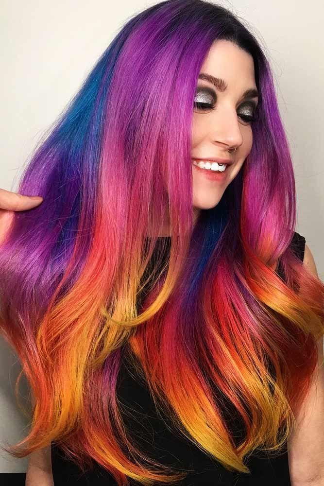 Dark Rainbow Hair with Tropical Sunset Colors #rainbowhair ❤️ Today rainbow ...