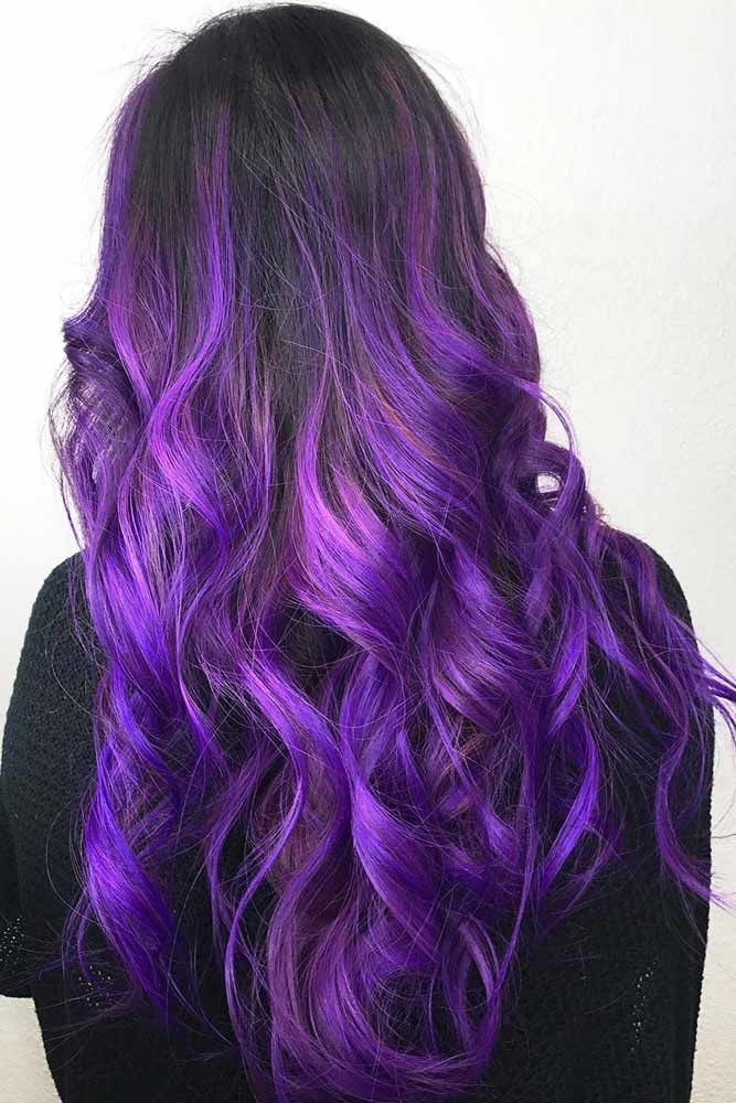 Electric Purple Ombre #brunette #purplehair #ombre ❤️ Purple and black hair ...