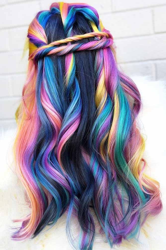 Holographic Rainbow Colored Hair #rainbowhair #highlights ❤️ Today rainbow h...