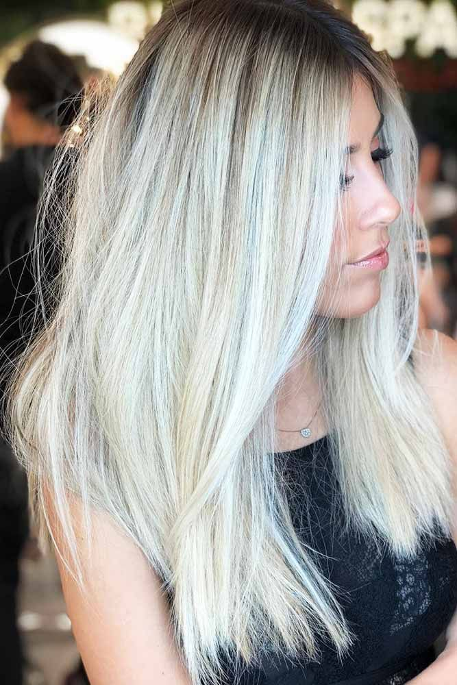 Icy Silver And Dark Ash Blonde Platinum Streaks #blondehair #highlights ❤️ P...