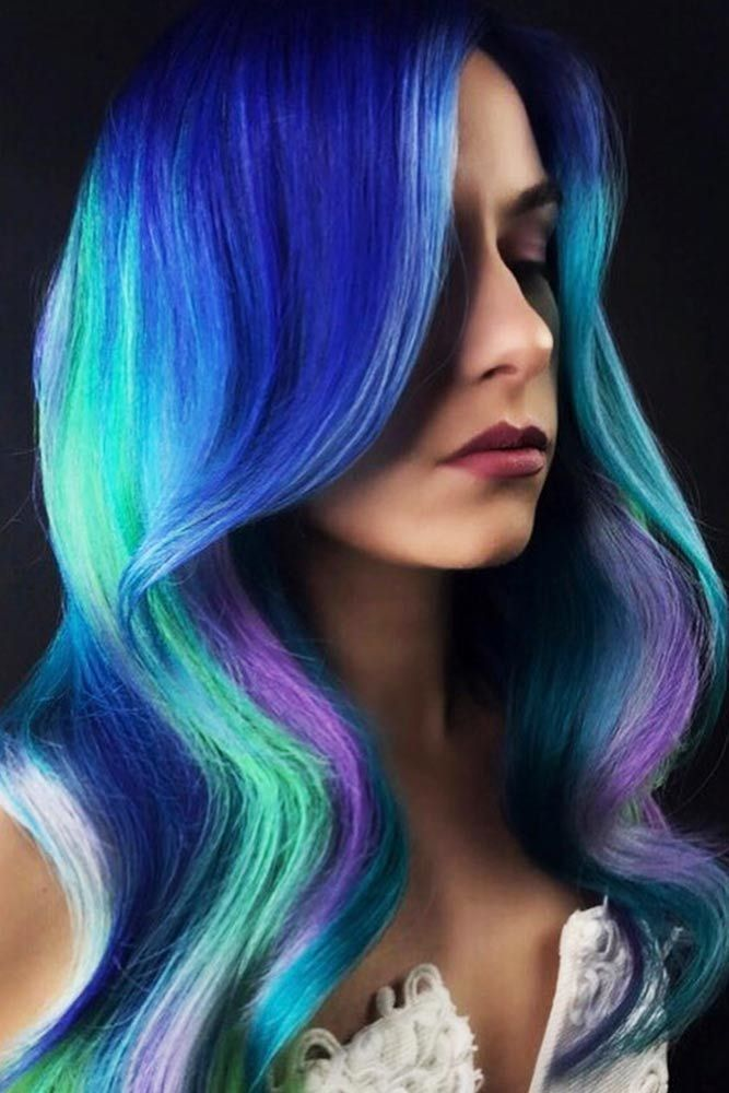 Mermaid Hair With Blue Accents Violet #bluehair #mermaidhair ❤️ Read on to d...