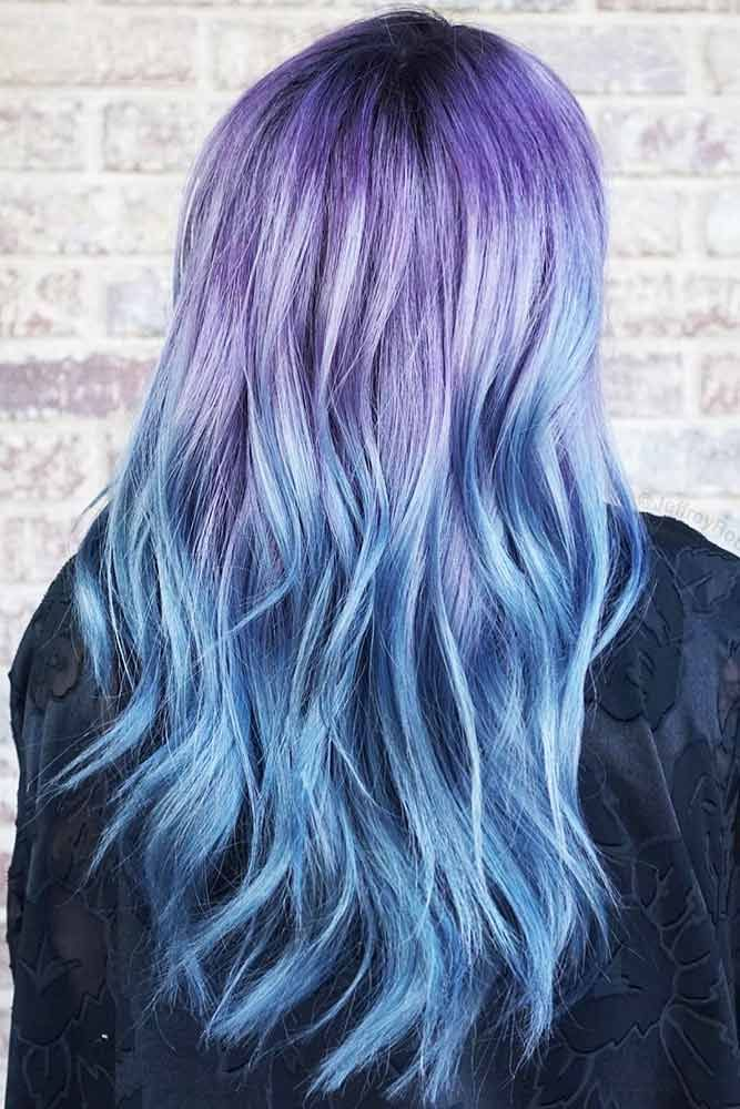 Metallic Purple Blue Melt #bluehair #purplehair #ombre ❤️ What about blue om...
